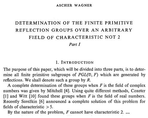 Ascher Wagner's 1977 dismissal of reflection groups over fields of characteristic 2