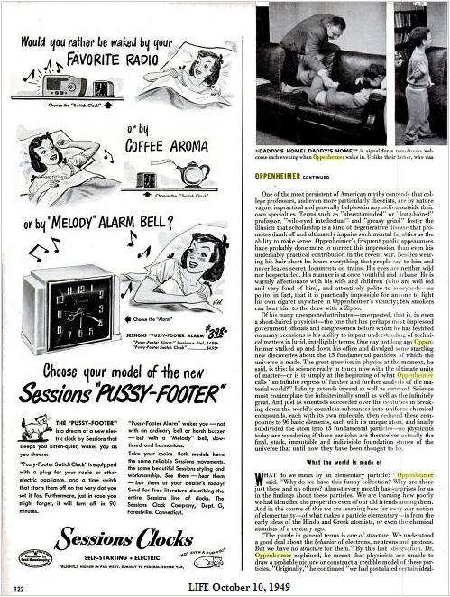 Oppenheimer homecoming, with ad for 'Pussy-Footer' alarm clock