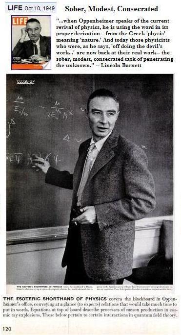 J. Robert Oppenheimer at his blackboard