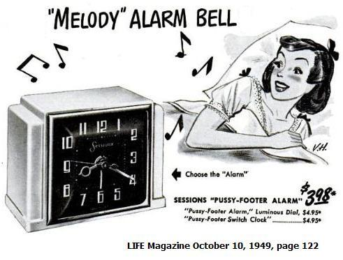 'Pussy-Footer' alarm clock, LIFE Magazine, Oct. 10, 1949, page 122