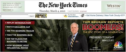 Large ad, front page top, for Tom Brokaw's 'Boomers' in NY Times of March 4th, 2010