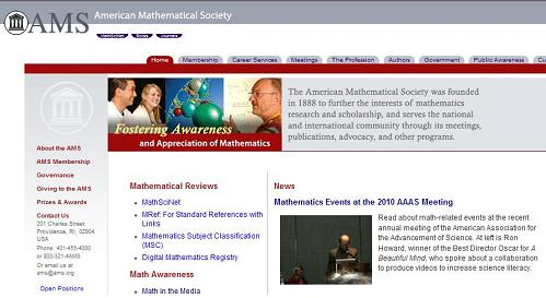 American Mathematical Society home page March 7, 2010, starring Ron Howard