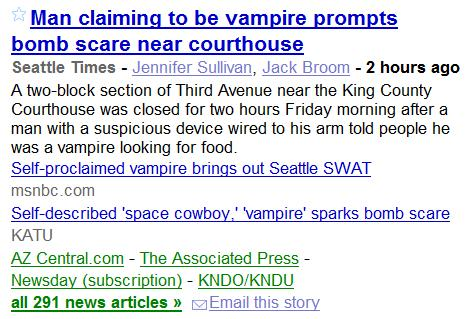 Vampire Scare in Seattle-- Google News about 4:50 PM ET 3/12/2010