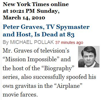NY Times announces the death of Mission Impossible actor Peter Graves