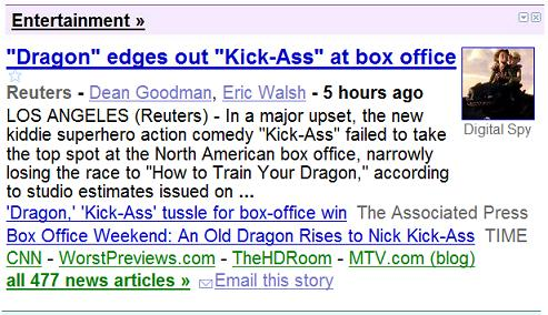 Image -- Google News, 'Dragon' Edges Out 'Kick-Ass' At Box Office