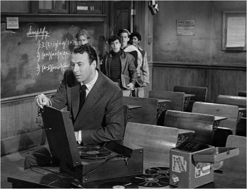 Image-- Richard Kiley with record collection in 'Blackboard Jungle,' 1955