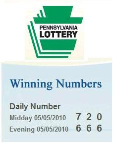 Image-- PA lottery, May 5, 2010-- Midday 720, Evening 666
