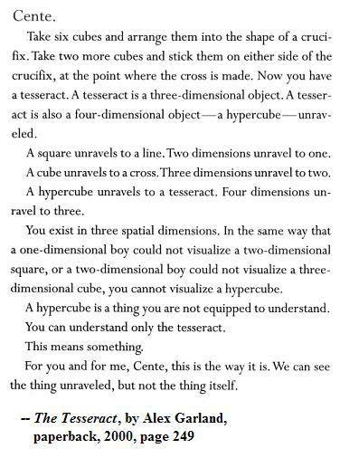 Image-- Alex Garland on how a hypercube unfolds to what he calls a tesseract