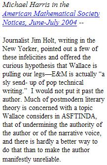 Michael Harris in AMS Notices suggests David Foster Wallace may be pulling our legs in 'Everything and More'