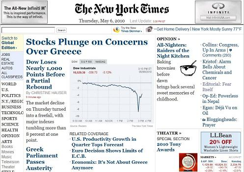 NY Times -- Markets Plunge, Rebound
