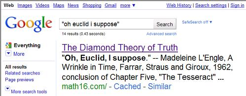 Image-- Google search for 'Oh, Euclid, I suppose'