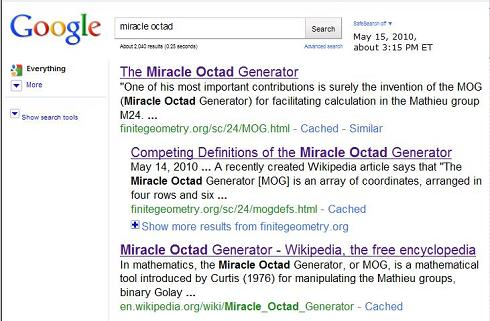 Image-- Google search on 'miracle octad'-- top 3 results