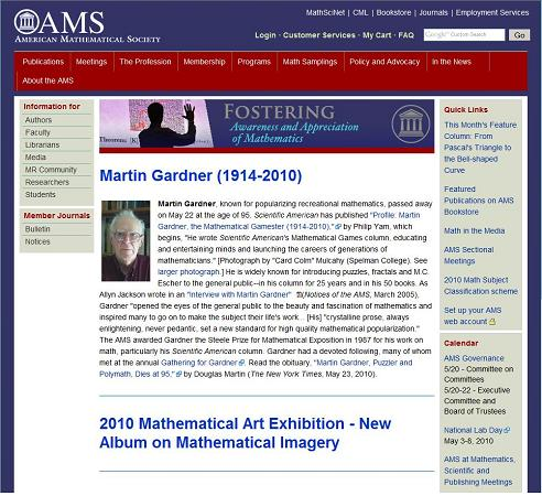 Image-- AMS site screenshot of Martin Gardner tribute, May 25, 2010