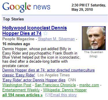 Image-- Dennis Hopper, who 'helped put the icon in iconoclastic,' dies at 74