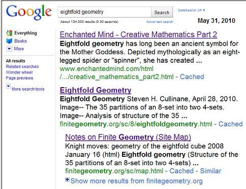 Image-- Google 5/31/2010 search for 'eightfold geometry' yields page on mother goddess as spider figure, also pages on some actual geometry
