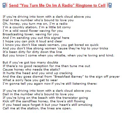 Image-- 'You Turn Me On, I'm a Radio' lyrics by Joni Mitchell