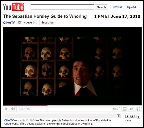 Image-- YouTube video, 'The Sebastian Horsley Guide to Whoring'