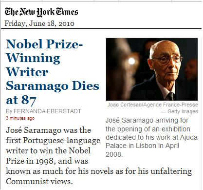 Image-- Nobel Prize-Winning Writer Saramago Dies at 87