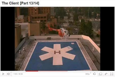 Star of Life on helipad at St. Peter's Charity Hospital in 'The Client'