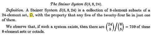 Image-- In a 1976 paper, R.T. Curtis names the 24-set of his Miracle Octad Generator 'Omega.'