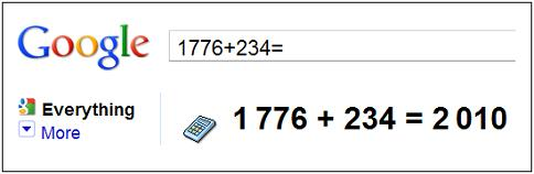 Image-- Google Calculator-- '1776+234=2010'