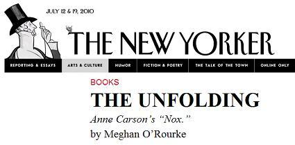 Image-- 'The Unfolding'-- A review of Anne Carson's 'Nox'