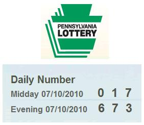 Image-- PA Lottery Saturday, July 10, 2010-- Midday 017, Evening 673