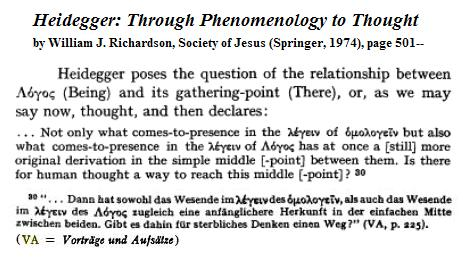 Image-- 'Heidegger: Through Phenomenology to Thought,' page 501, on a 'simple middle [-point]'
