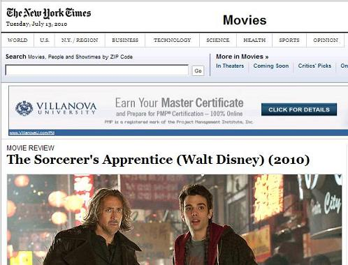 Image-- NY Times review of 'Sorcerer's Apprentice' with ad for Project Management Institute program at Villanova University