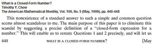 Image-- 'What is a closed-form number?'