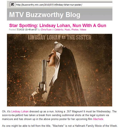 Image-- MTV star spotting-- Lindsay Lohan, Nun with a Gun