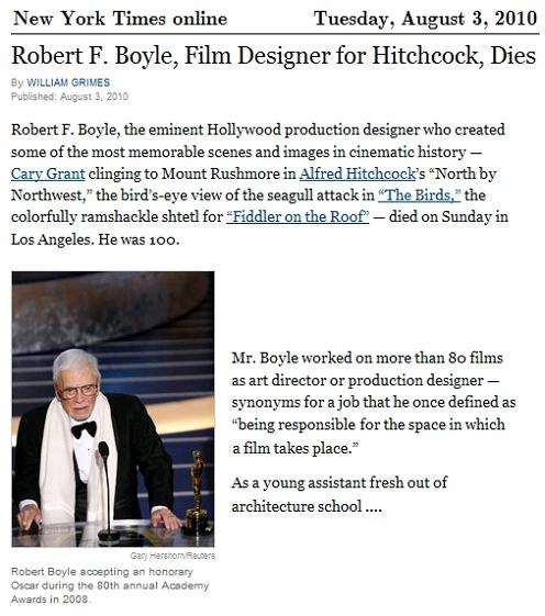 IMAGE-- Robert F. Boyle, production designer for Hitchcock, died Sunday at 100
