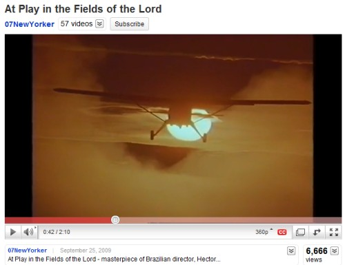 Image-- Plane flying into sun, from 'At Play in the Fields of the Lord'
