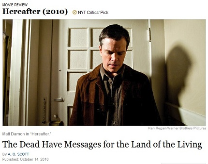 IMAGE-- Matt Damon stands where a door opens in 'Hereafter'