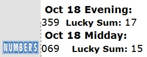 IMAGE-- NY Lottery Oct. 18, 2010-- Midday 069, Evening 359