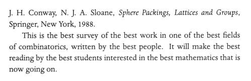 IMAGE- Rota's review of 'Sphere Packings, Lattices and Groups'-- in a word, 'best'