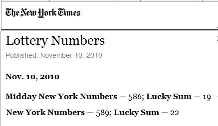 IMAGE- NY Times report of NY Lottery numbers on Nov. 10, 2010- Midday 586, Evening 589