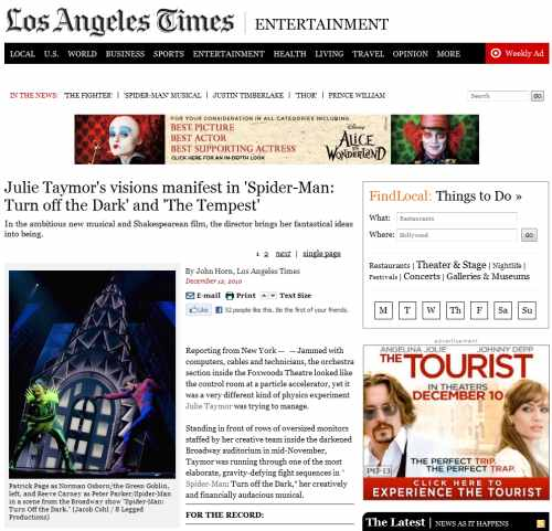 IMAGE-- LA Times on Julie Taymor, Wonderland, and Johnny Depp