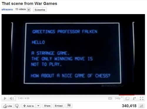 IMAGE- 'War Games' computer- 'How about a nice game of chess?'