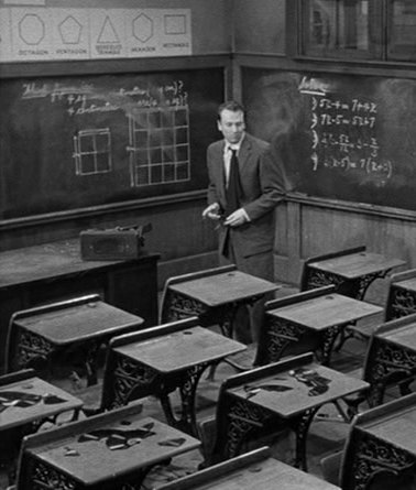 IMAGE- Richard Kiley in 'Blackboard Jungle,' with grids and broken records