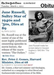 NY Times obits index: Jane Russell and Peter J. Gomes
