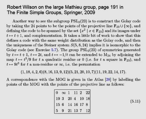 IMAGE- Robert Wilson on the projective line with 24 points and its image in the MOG