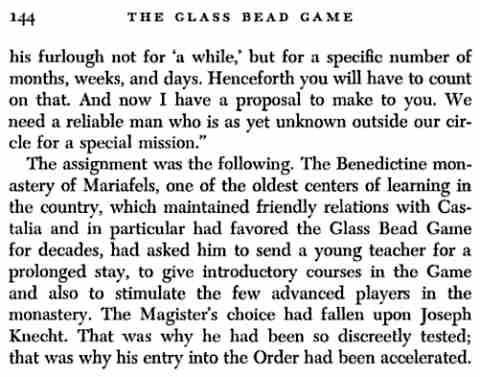 IMAGE- Future Bead Game Master Joseph Knecht's mission to a Benedictine monastery
