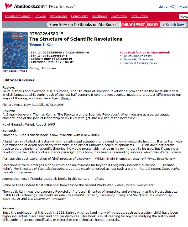 a literary analysis of the structure of scientific revolutions by kuhn