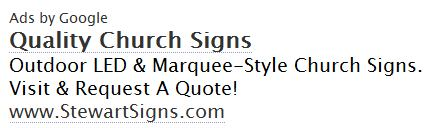 IMAGE- Google ad for 'Quality Church Signs'