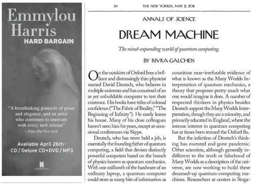 Emmylou Harris and Rivka Galchen in the May 2, 2011 New Yorker