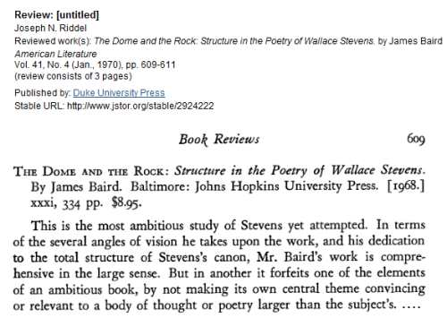 IMAGE- Review of a book on Stevens's poetry, 'The Dome and the Rock,' with the reviewer's phrase 'angles of vision.'