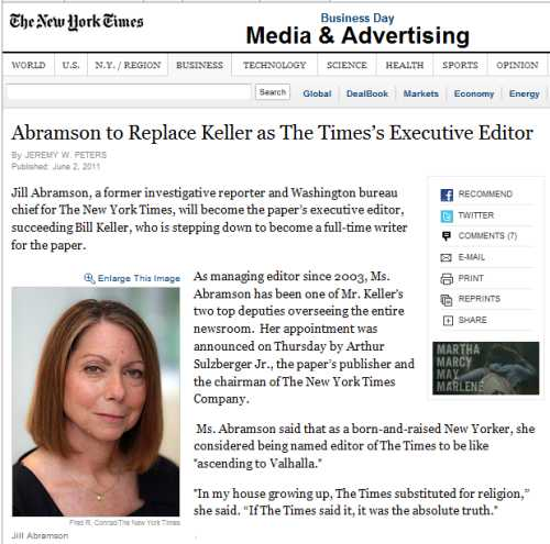IMAGE- Jill Abramson is new executive editor at NY Times