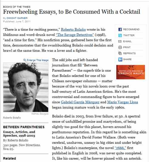IMAGE- NY Times June 7, 2011, review of Bolano's 'Between Parentheses'