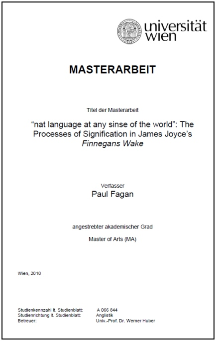 finnegans thesis wake This book is a critical introduction to finnegans wake and its genesis finn fordham provides a survey of critical, scholarly, and theoretical approaches to joyce's iconic masterpiece.